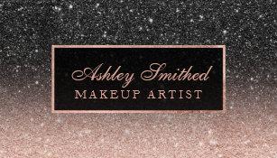 Glitter business cards templates zazzle modern black rose gold glitter chic ombre makeup business card colourmoves