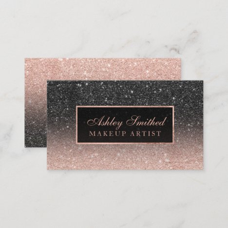 Modern black rose gold glitter chic ombre makeup business card