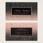 "Modern black rose gold glitter chic ombre makeup business card<br><div class=""desc"">Modern black rose gold glitter with faux rose gold frame ombre makeup artist business card.</div>"
