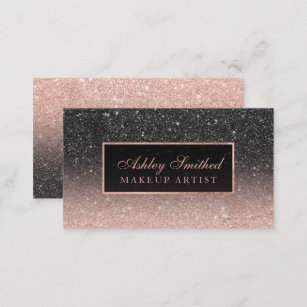 Glitter business cards zazzle modern black rose gold glitter chic ombre makeup business card colourmoves