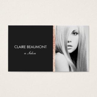 Modern Black Rose Gold Sequin Salon Photo Card