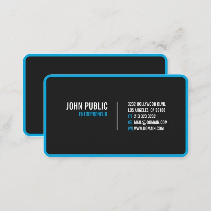 Modern Black Rounded Corners Business Card Zazzle Com