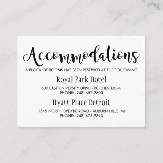 Modern Black Script Wedding Accommodations Enclosure Card