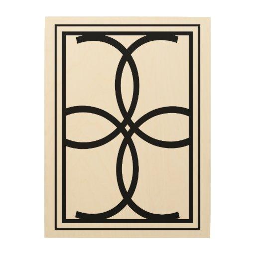 Modern Black Scroll Design Wood Wall Art Zazzle