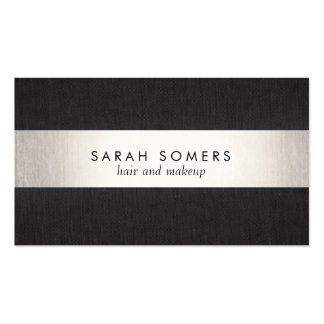 Modern Black Silver Striped Professional Double-Sided Standard Business Cards (Pack Of 100)