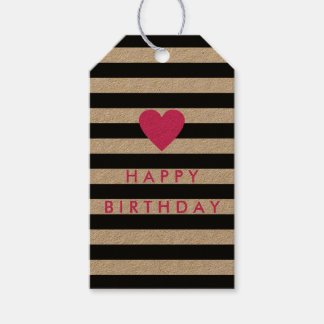 Modern Black Stripe with Pink Heart Birthday Gift Tags