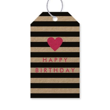 stripystripes Modern Black Stripe with Pink Heart Birthday Gift Tags