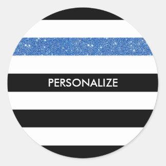 Modern Black Stripes FAUX Blue Glitz and Name Classic Round Sticker