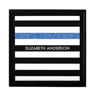 Modern Black Stripes FAUX Blue Glitz and Name Gift Box