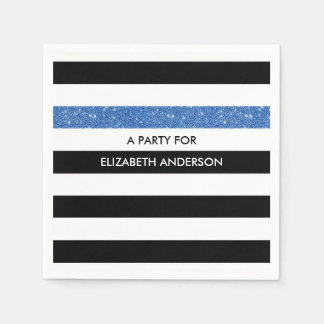 Modern Black Stripes FAUX Blue Glitz and Name Paper Napkin