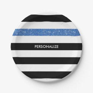 Modern Black Stripes FAUX Blue Glitz and Name Paper Plate