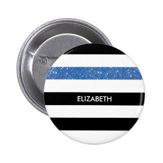 Modern Black Stripes FAUX Blue Glitz and Name Pinback Button