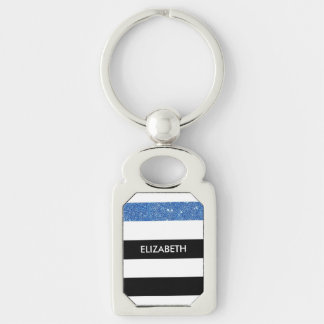 Modern Black Stripes FAUX Blue Glitz and Name Silver-Colored Rectangular Metal Keychain
