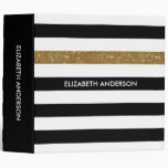Modern Black Stripes FAUX Gold Glitz and Name 3 Ring Binder