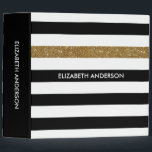 """Modern Black Stripes FAUX Gold Glitz and Name 3 Ring Binder<br><div class=""""desc"""">Personalize this modern wide horizontal black and white stripes pattern 2 inch binder with a gold glitter stripe by adding the name of any girly girl. This trendy graphic striped pattern is perfect for the chic fashionista. Flat printed image,  NOT actual glitter.</div>"""