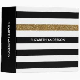 Modern Black Stripes FAUX Gold Glitz and Name 3 Ring Binder