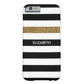 Modern Black Stripes FAUX Gold Glitz and Name Barely There iPhone 6 Case