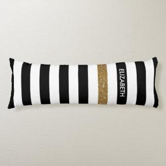 Modern Black Stripes FAUX Gold Glitz and Name Body Pillow