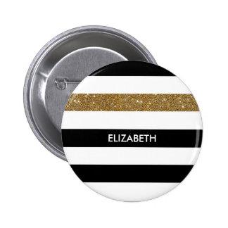 Modern Black Stripes FAUX Gold Glitz and Name Button