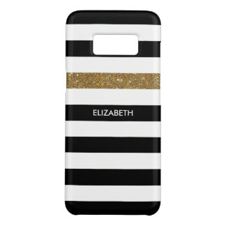 Modern Black Stripes FAUX Gold Glitz and Name Case-Mate Samsung Galaxy S8 Case