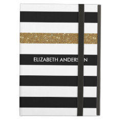 Modern Black Stripes Faux Gold Glitz And Name Cover For Ipad Air at Zazzle