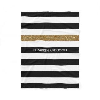 Modern Black Stripes FAUX Gold Glitz and Name Fleece Blanket