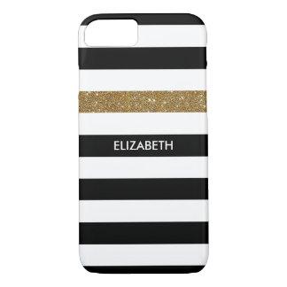 Modern Black Stripes FAUX Gold Glitz and Name iPhone 7 Case