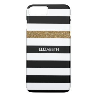 Modern Black Stripes FAUX Gold Glitz and Name iPhone 7 Plus Case