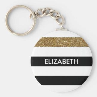 Modern Black Stripes FAUX Gold Glitz and Name Keychain