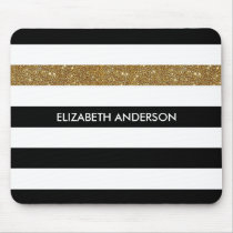 Modern Black Stripes FAUX Gold Glitz and Name Mouse Pad
