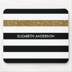 Modern Black Stripes Faux Gold Glitz And Name Mouse Pad at Zazzle