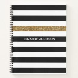 Modern Black Stripes FAUX Gold Glitz and Name Notebook