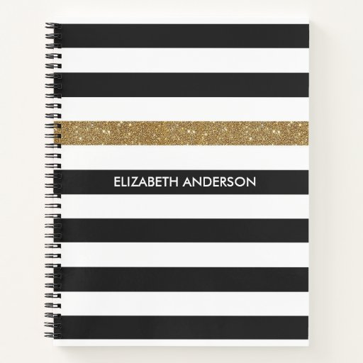 Modern Black Stripes FAUX Gold Glitz and Name Notebook