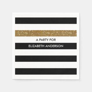 Modern Black Stripes Faux Gold Glitz And Name Paper Napkin at Zazzle