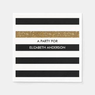 Modern Black Stripes FAUX Gold Glitz and Name Paper Napkin