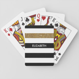 Modern Black Stripes FAUX Gold Glitz and Name Playing Cards