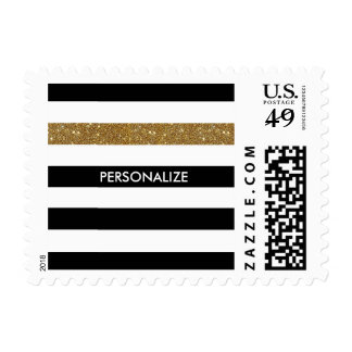 Modern Black Stripes FAUX Gold Glitz and Name Postage Stamp