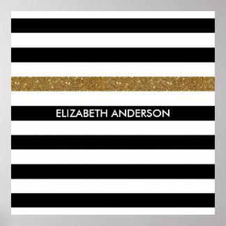 Modern Black Stripes FAUX Gold Glitz and Name Poster