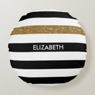 Modern Black Stripes FAUX Gold Glitz and Name Round Pillow