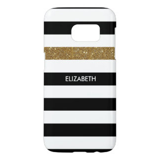 Modern Black Stripes FAUX Gold Glitz and Name Samsung Galaxy S7 Case
