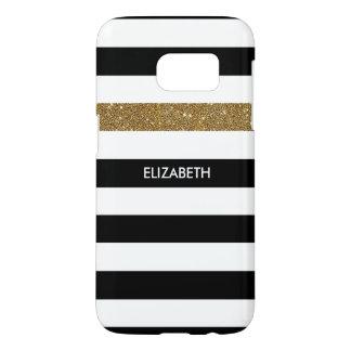 Modern Black Stripes FAUX Gold Glitz and Name Samsung Galaxy S7 Case