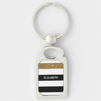 Modern Black Stripes FAUX Gold Glitz and Name Silver-Colored Rectangular Metal Keychain