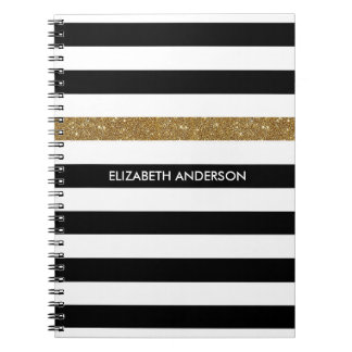 Modern Black Stripes FAUX Gold Glitz and Name Spiral Notebook