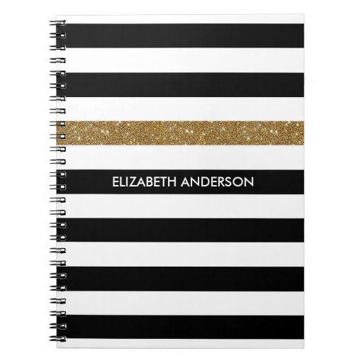 Modern Black Stripes FAUX Gold Glitz and Name Spiral Notebook