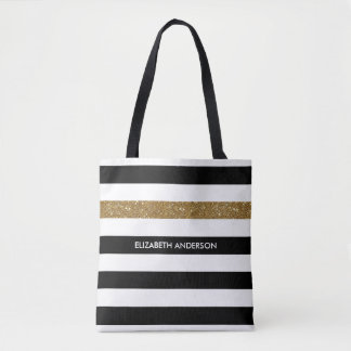 Modern Black Stripes FAUX Gold Glitz and Name Tote Bag