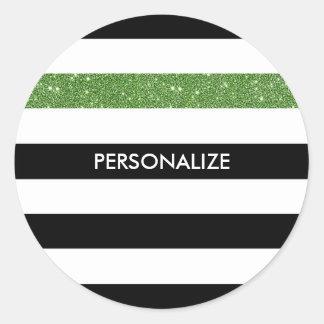 Modern Black Stripes FAUX Green Glitz and Name Classic Round Sticker