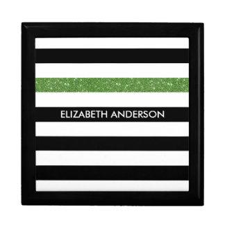 Modern Black Stripes FAUX Green Glitz and Name Gift Box