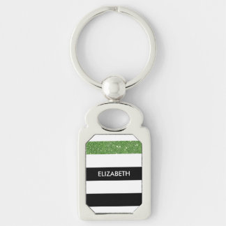 Modern Black Stripes FAUX Green Glitz and Name Silver-Colored Rectangular Metal Keychain