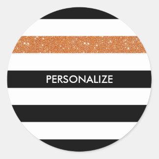 Modern Black Stripes FAUX Orange Glitz and Name Classic Round Sticker