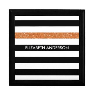 Modern Black Stripes FAUX Orange Glitz and Name Keepsake Box